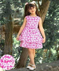 عکس مدل پیراهن نخی دخترانه بچه گانه طرح گل کد 2200