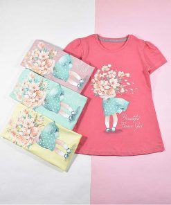 تیشرت دخترانه بچه گانه طرح دختر گلفروش کد 2196