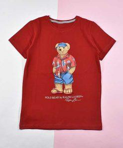 تیشرت پسرانه بچه گانه طرح خرس پولو کد 2192 رنگ قرمز