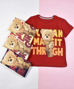 تیشرت پسرانه بچه گانه طرح خرس تدی کد 2193