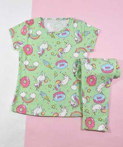 بلوز شلوار راحتی بچه گانه دخترانه اسب تک شاخ کد 2214 رنگ سبز